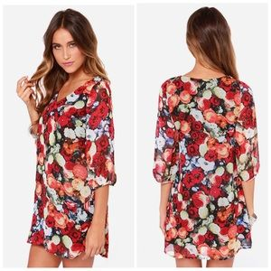 Lulu's Ta-Rose cards red floral print shift dress